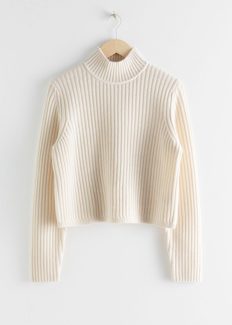 Ribbed Wool Relaxed Turtleneck