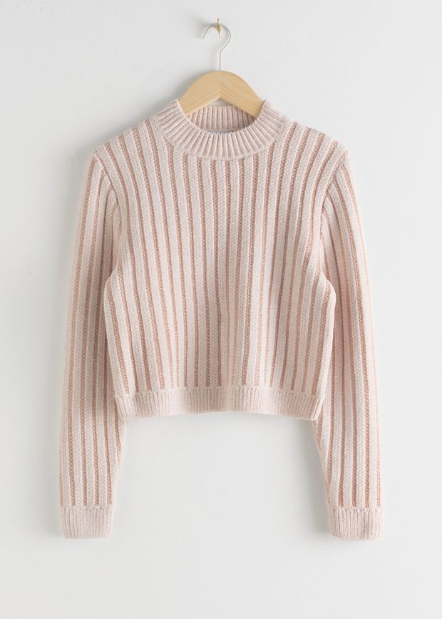 Mock Neck Metallic Stripe Sweater
