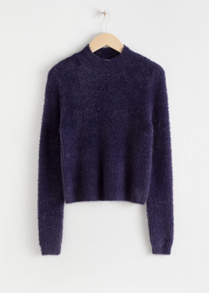 Fluffy Mock Neck Wool Blend Sweater