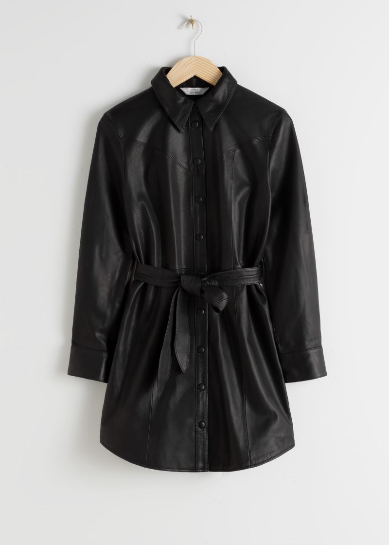Leather Belted Mini Shirt Dress