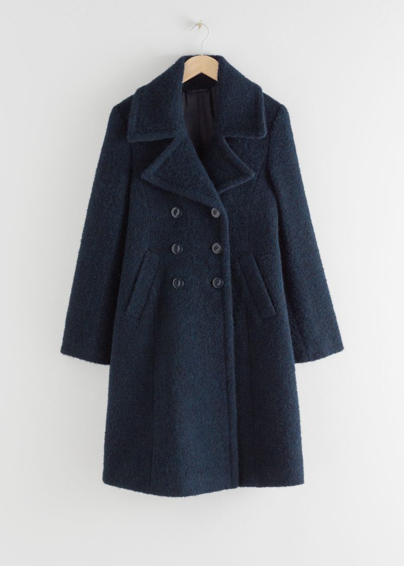 Double Breasted Wool Blend Bouclé Coat