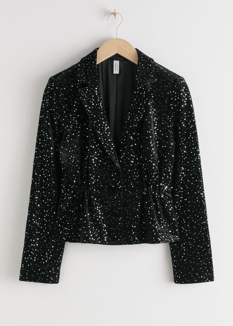 Sequined Velvet Hourglass Blazer