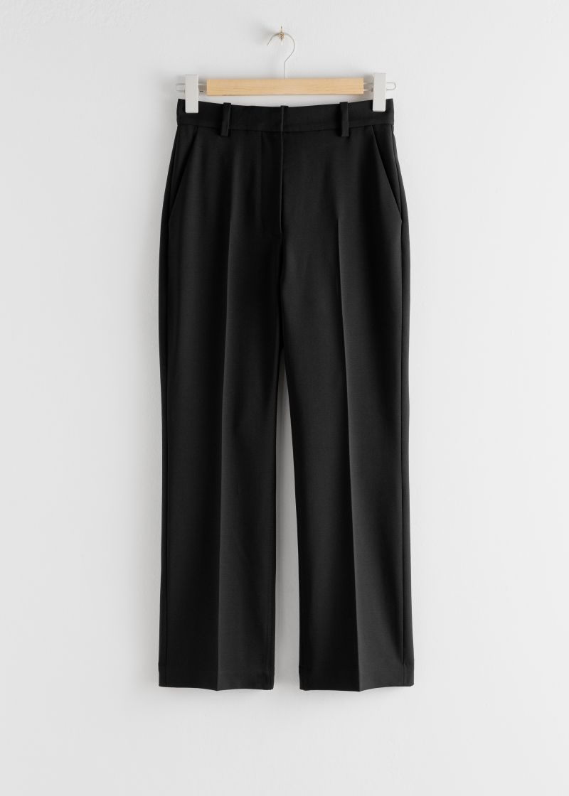 Wool Blend Kick Flare Trousers