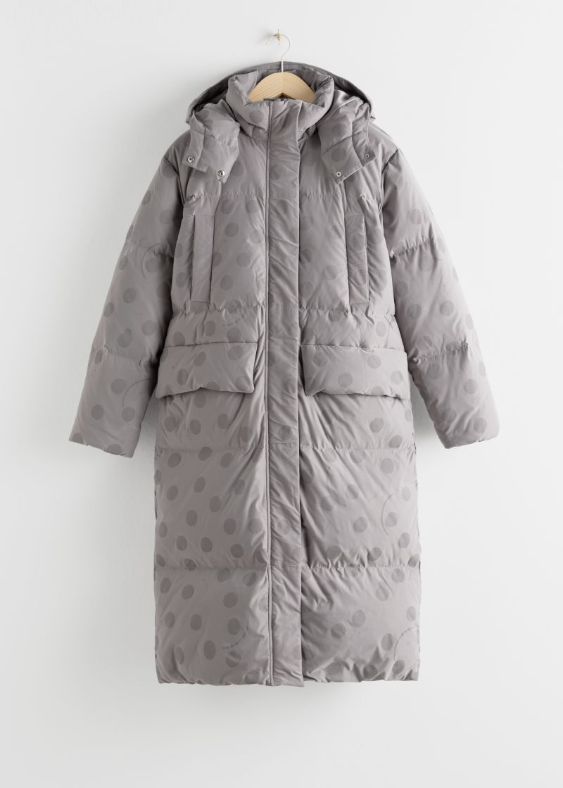 Oversized Polka Dot Down Puffer Coat