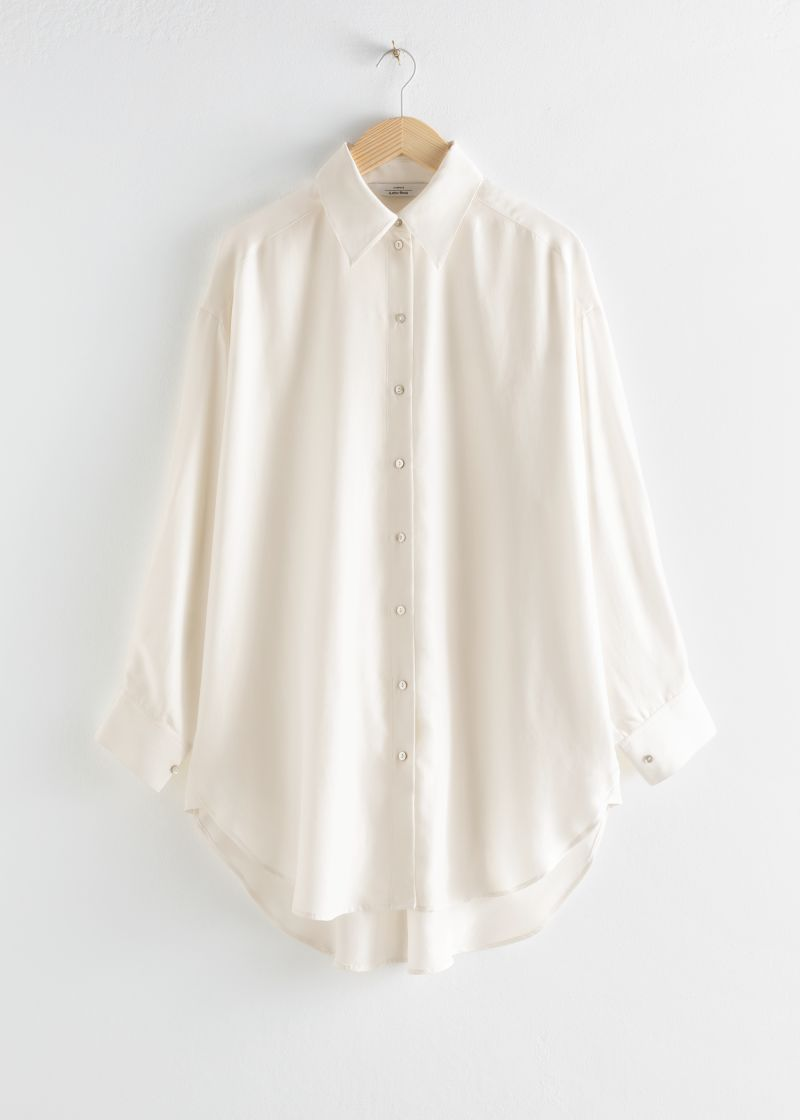 Oversized Silk Puff Sleeve Shirt