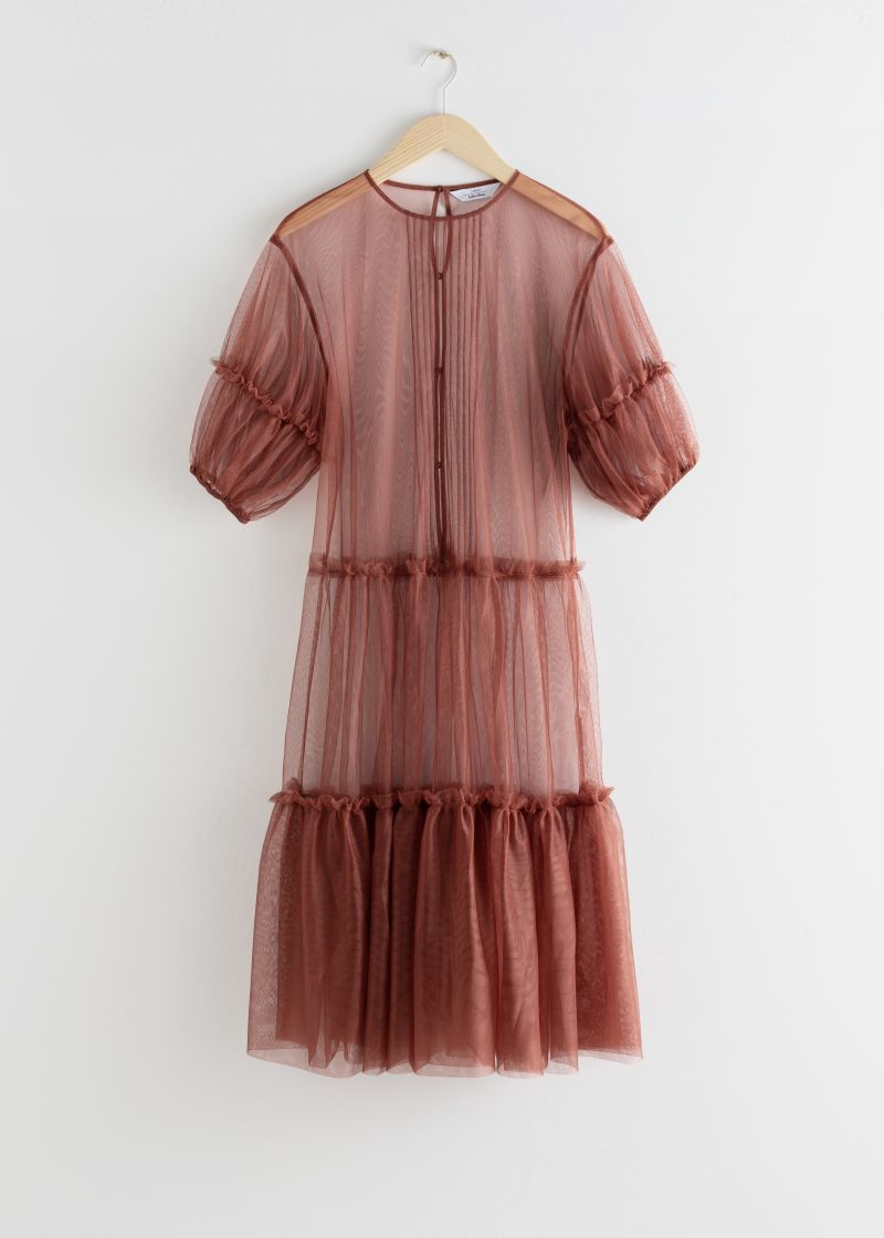 Sheer Mesh Ruffle Tier Midi Dress