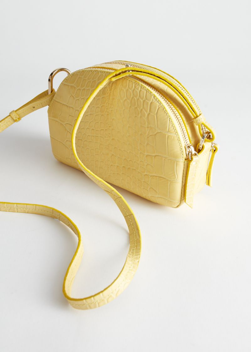 Half Moon Croc Embossed Crossbody Bag