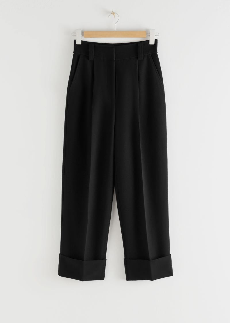 Tailored Wide Leg Cuffed Trousers