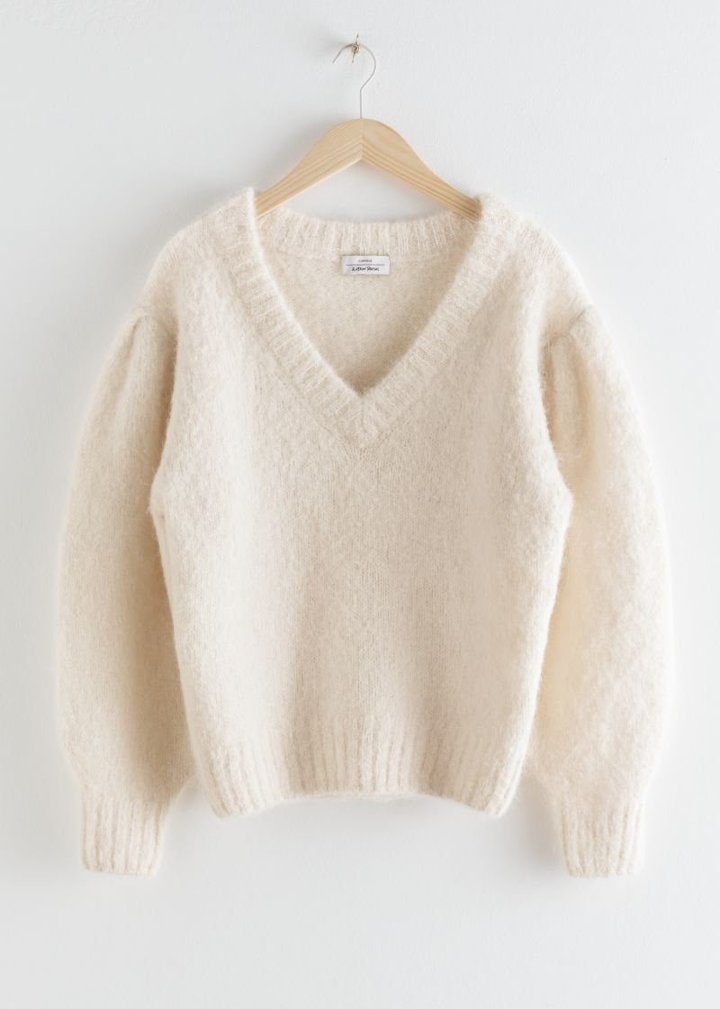 Oversized Puff Sleeve V-Neck Sweater