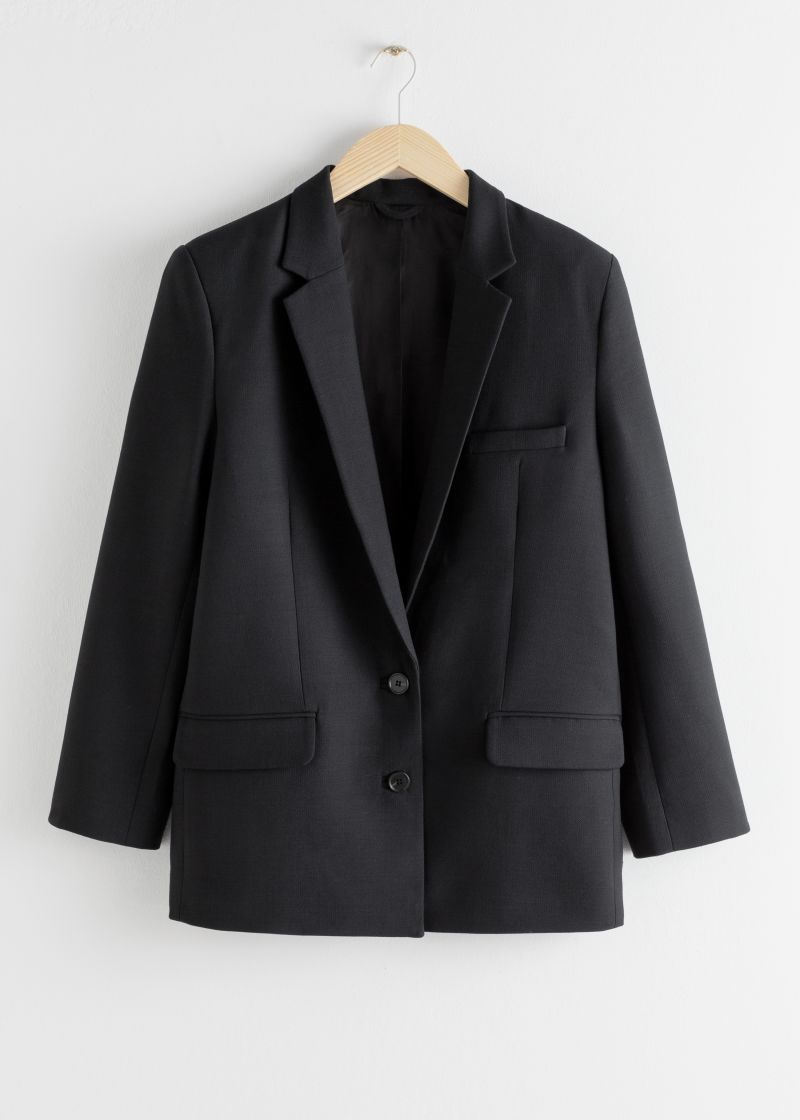 Tailored Dobby Oversized Blazer