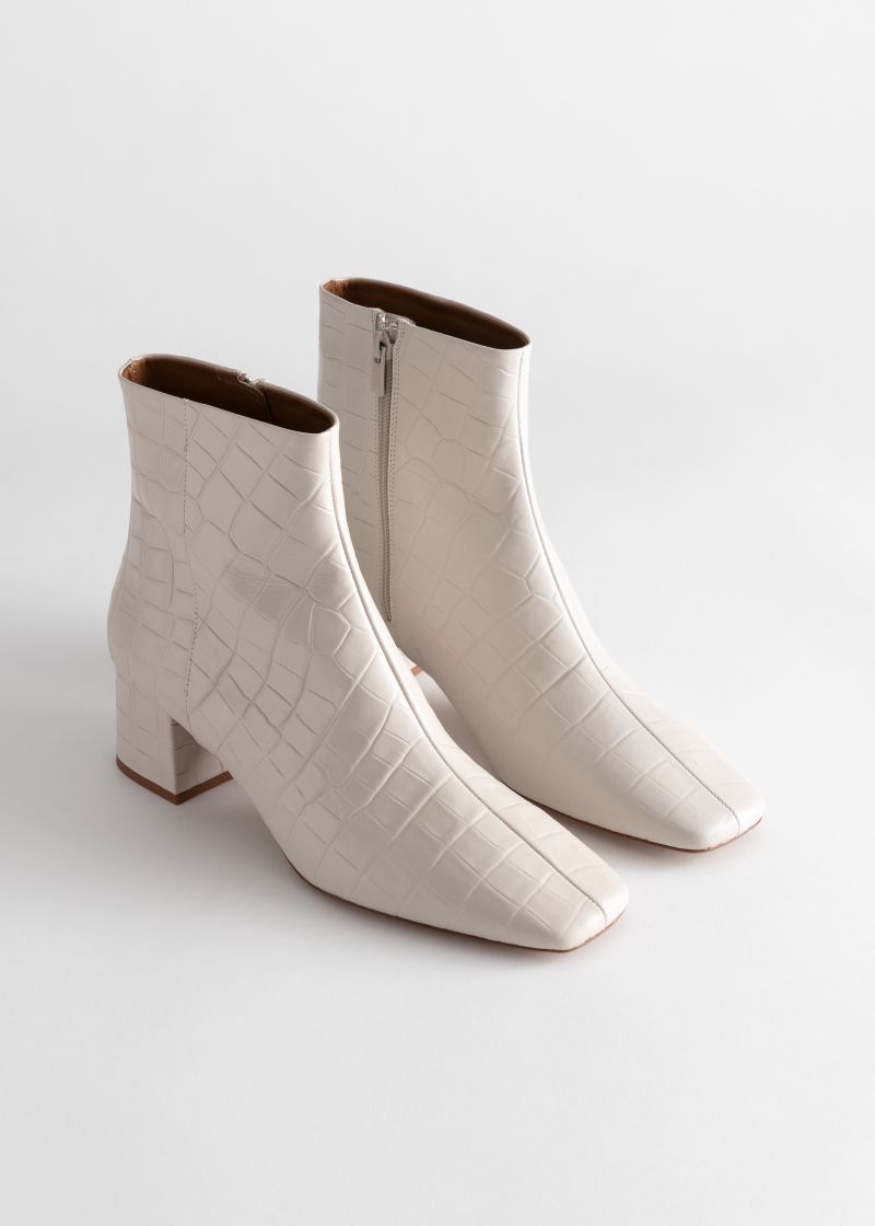 Croc Embossed Leather Square Toe Boots