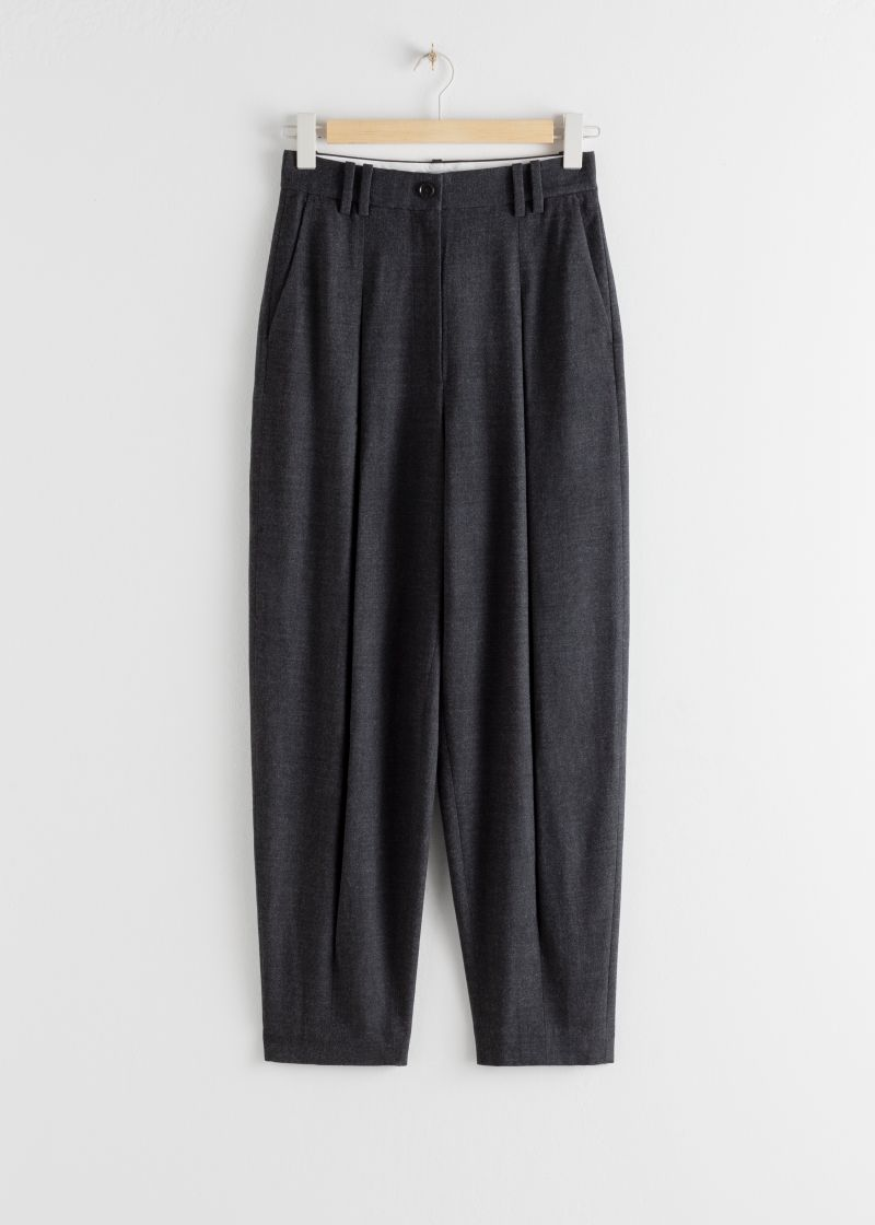 Wool Blend Box Pleated Trousers