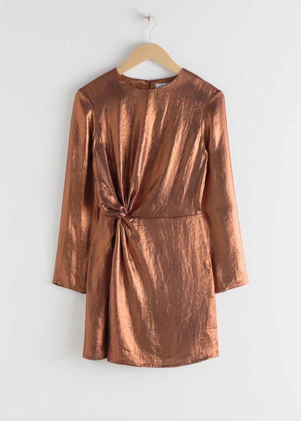 Metallic Satin Side Knot Mini Dress