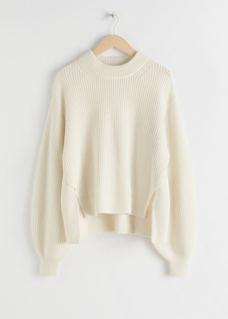 Side Split Wool Blend Sweater