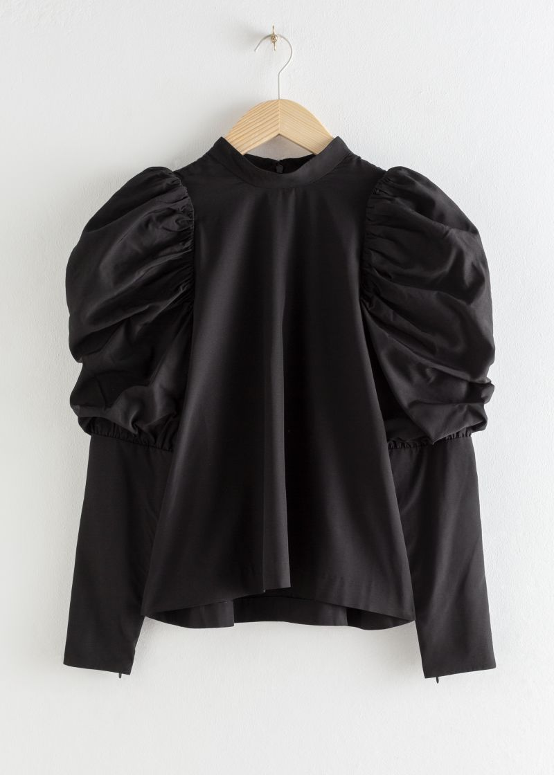 Puff Shoulder Mock Neck Blouse