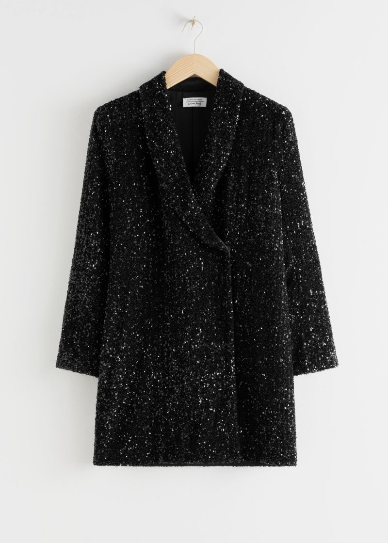 Sequin Double Breasted Blazer Dress