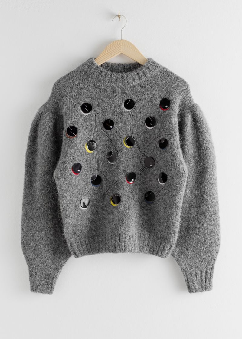 Embroidered Alpaca Blend Dot Sweater