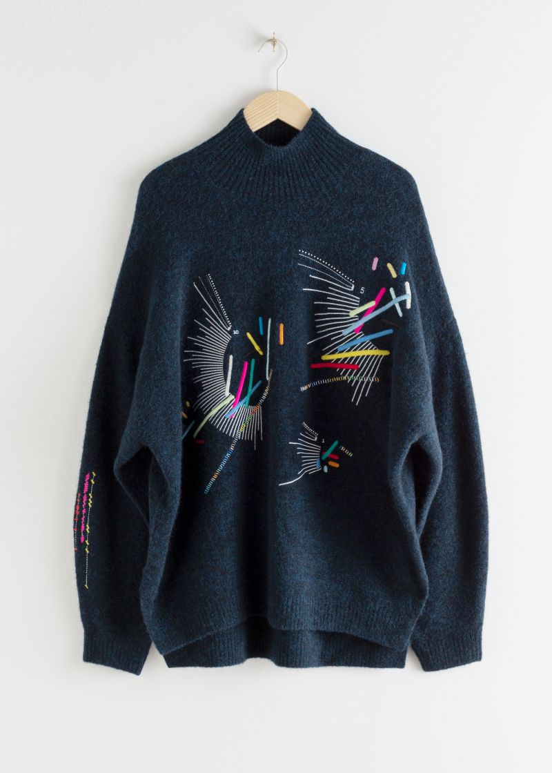 Embroidered Mock Neck Wool Blend Sweater