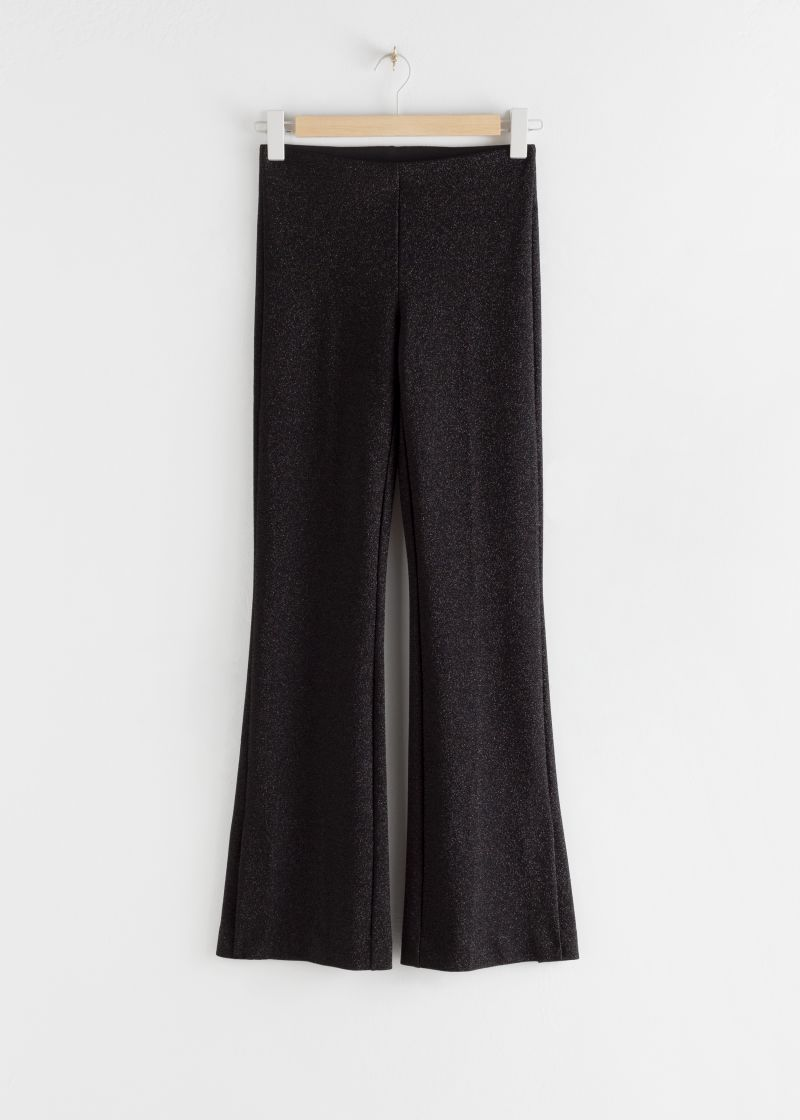 Glitter Lurex Stretch Kick Flare Trousers