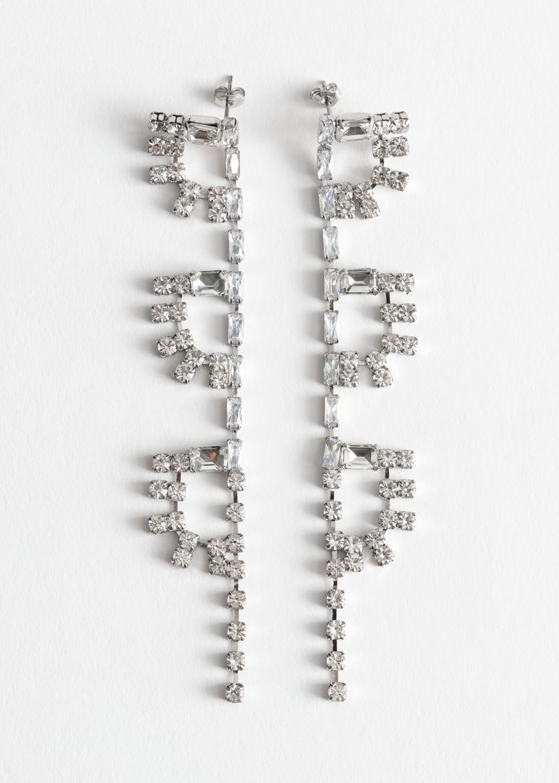 Rhinestone Half Sun Dangling Earrings