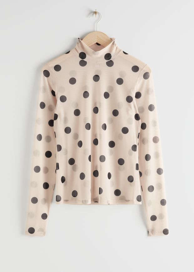 Polka Dot Mesh Turtleneck Top