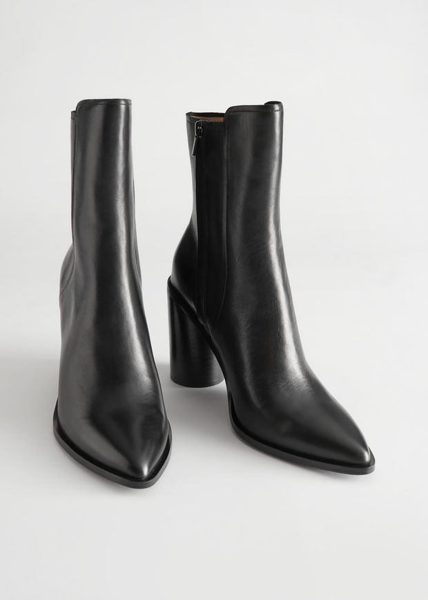 Asymmetric Shaft Leather Ankle Boots