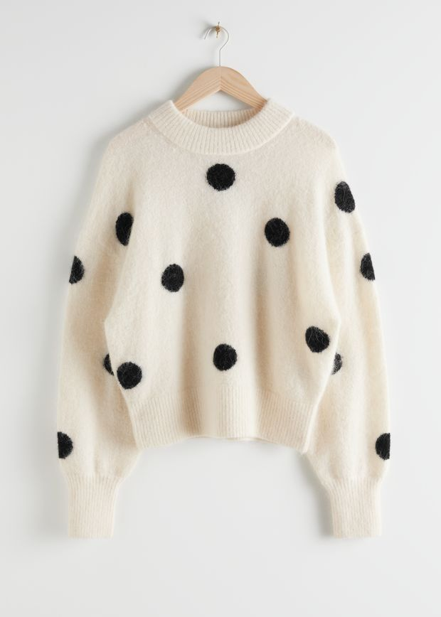 Wool Blend Polka Dot Sweater