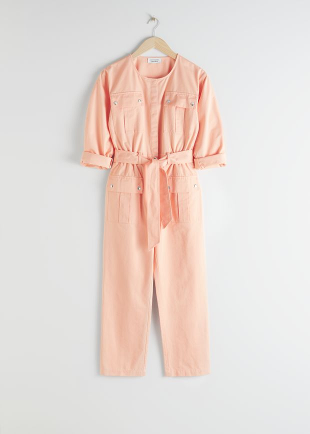 Organic Cotton Tie Belt Jumpsuit
