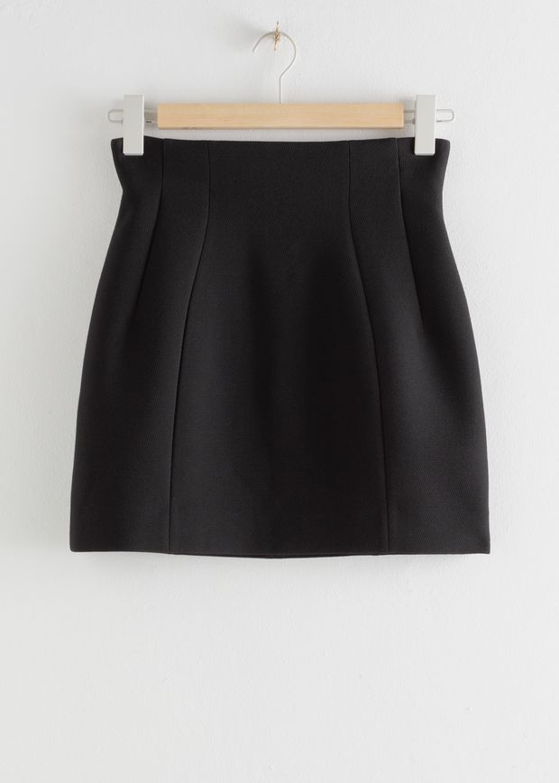 Structured High Waisted Mini Skirt