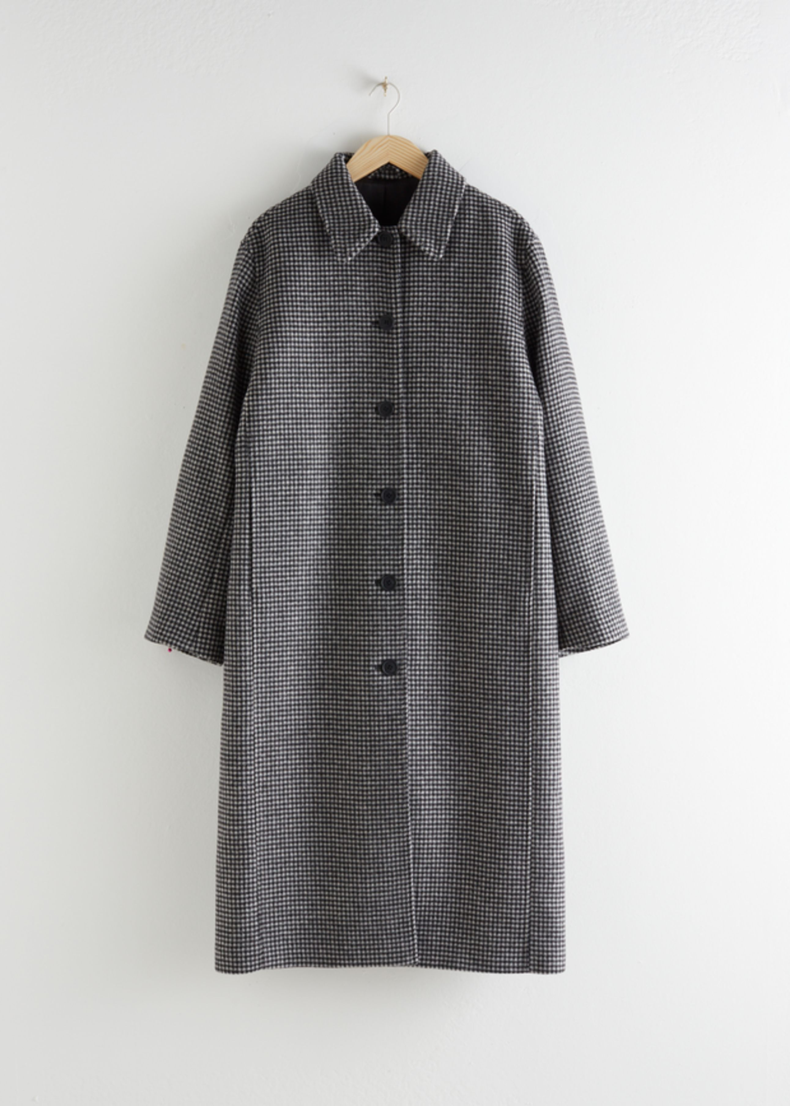 Houndstooth Wool Blend Long Coat
