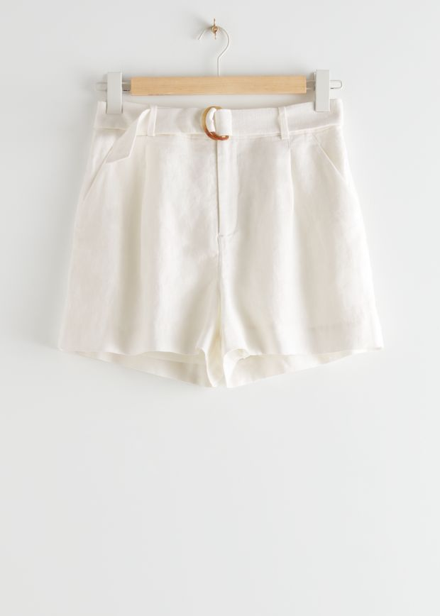 Belted Linen Pleat Shorts