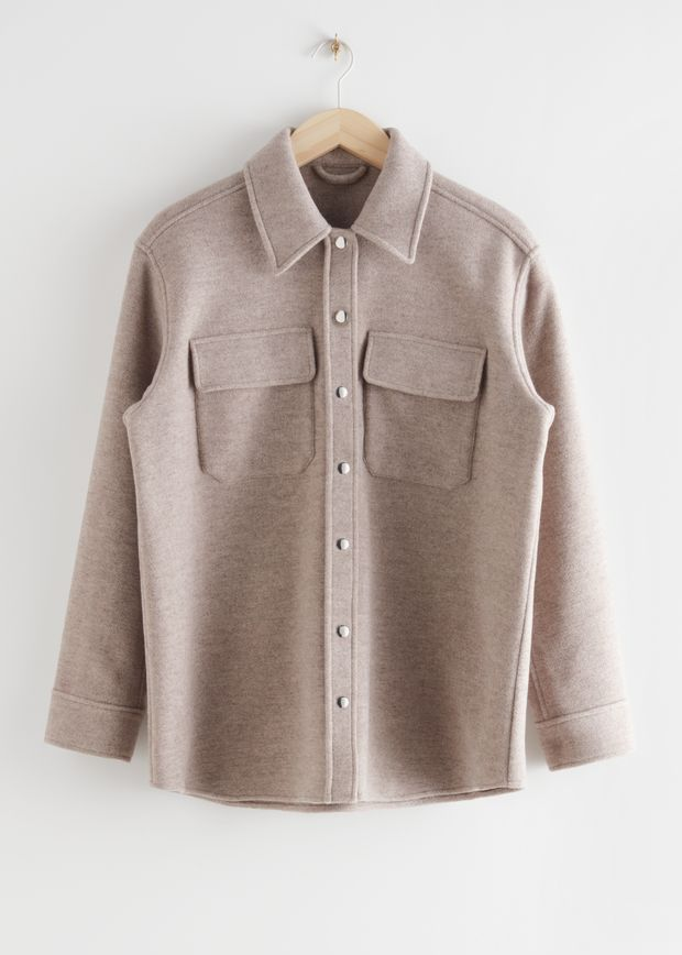 Oversized Wool Blend Workwear Shirt