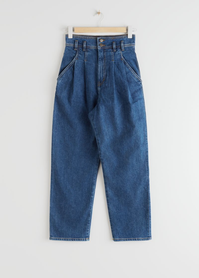 High Rise Pleated Jeans