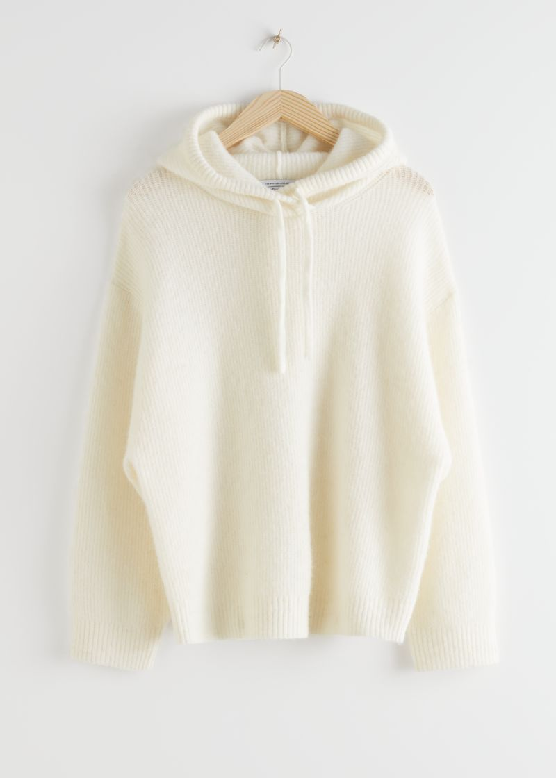 Ribbed Wool Blend Hooded Sweatshirt