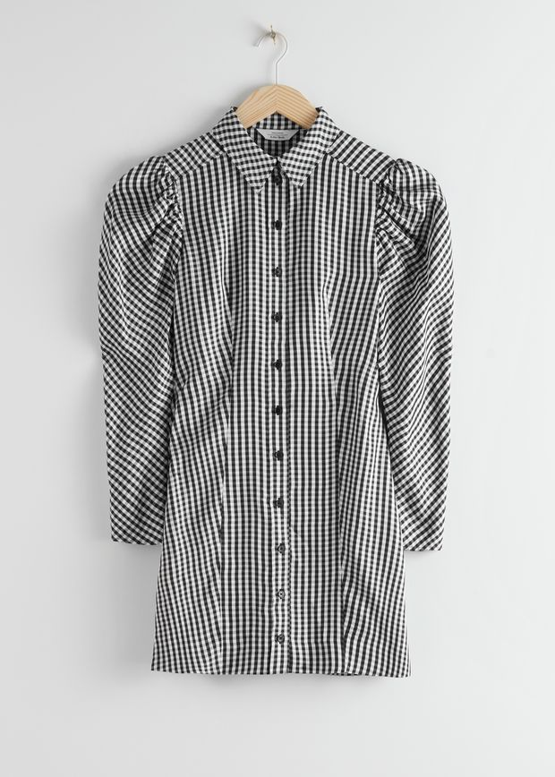 Gingham Mini Shirt Dress