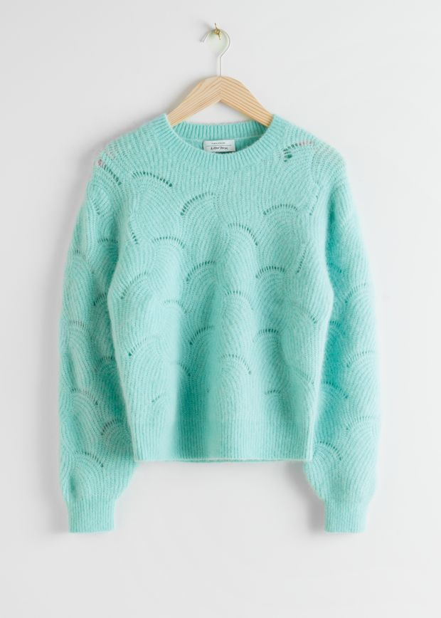 Wave Knitted Wool Blend Sweater