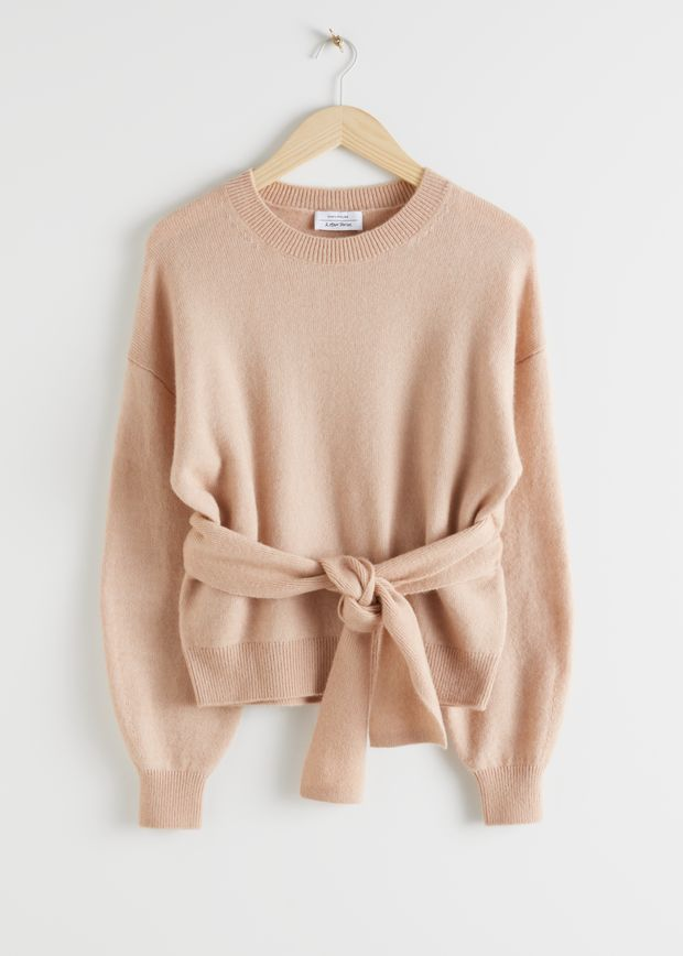 Belted Wool Blend Knit Sweater