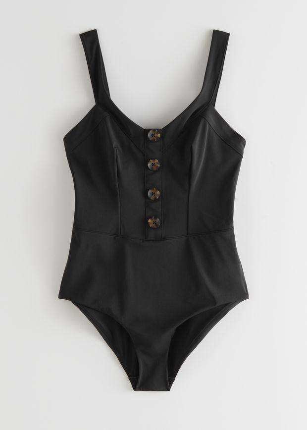 V-Cut Tortoise Button Swimsuit