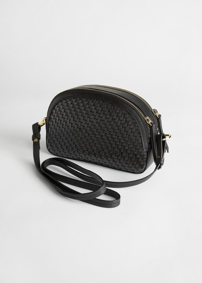 Braided Leather Half Moon Crossbody Bag