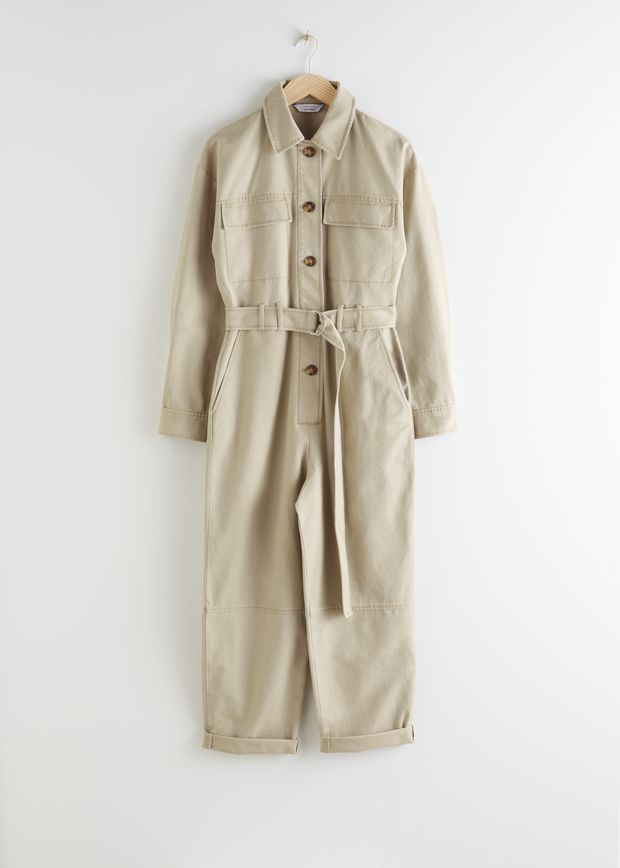 Belted Cotton Utility Jumpsuit