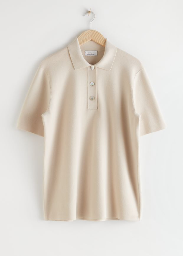 Oversized Ribbed Knit Polo Shirt