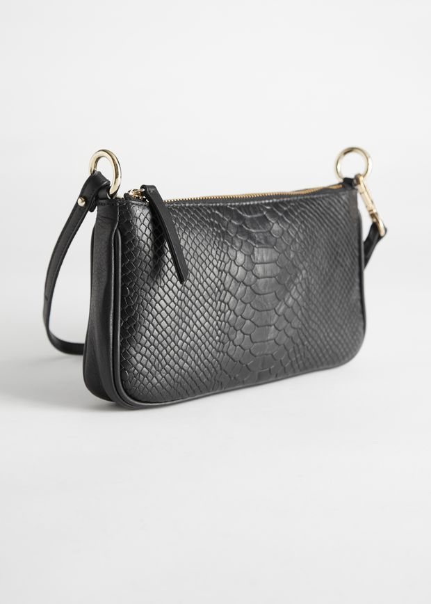 Croc Leather Mini Shoulder Bag