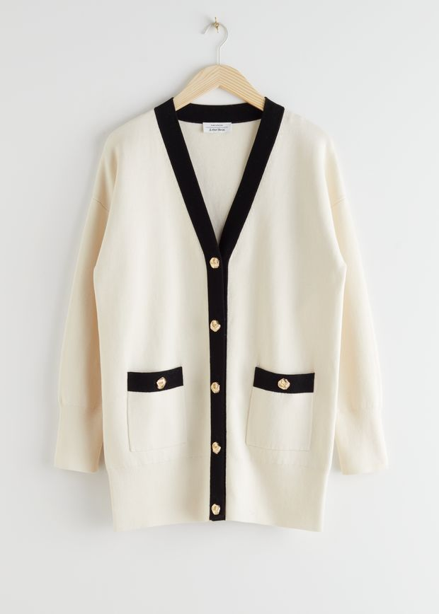 Oversized Gold Button Cardigan