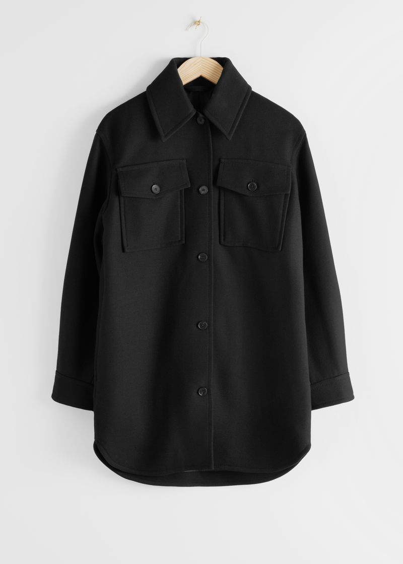 Long Wool Blend Workwear Shirt