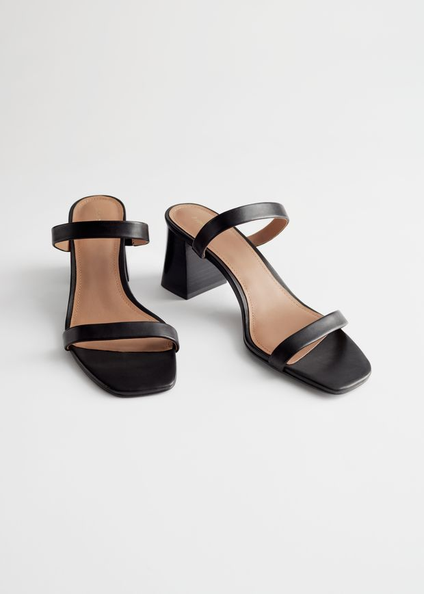 Duo Strap Leather Heeled Sandals