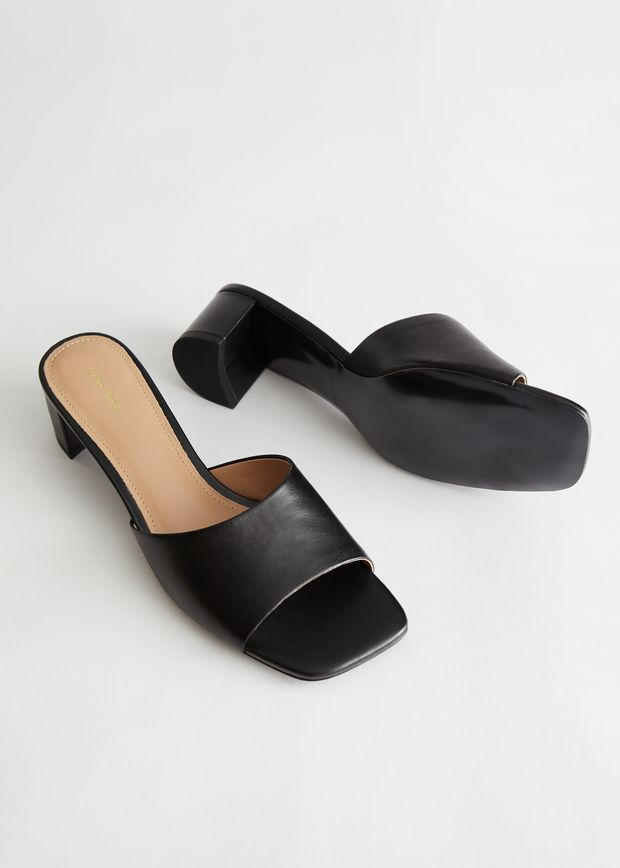 Heeled Leather Square Toe Sandal