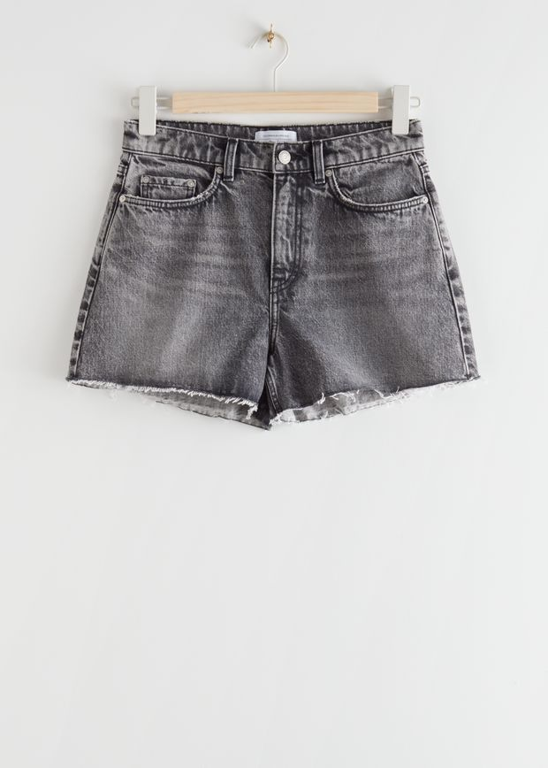 High Rise Cut Off Jeans Shorts
