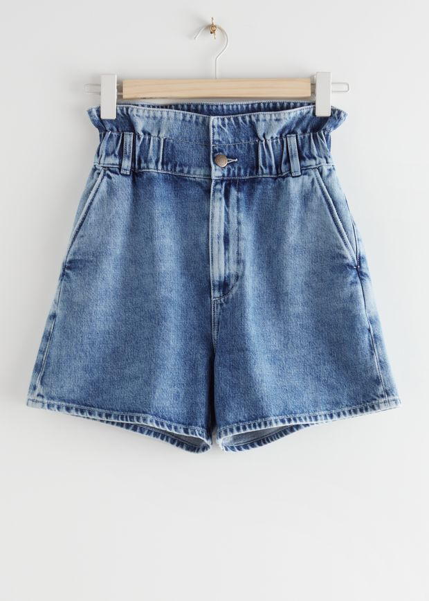 Paperbag Waist Jeans Shorts