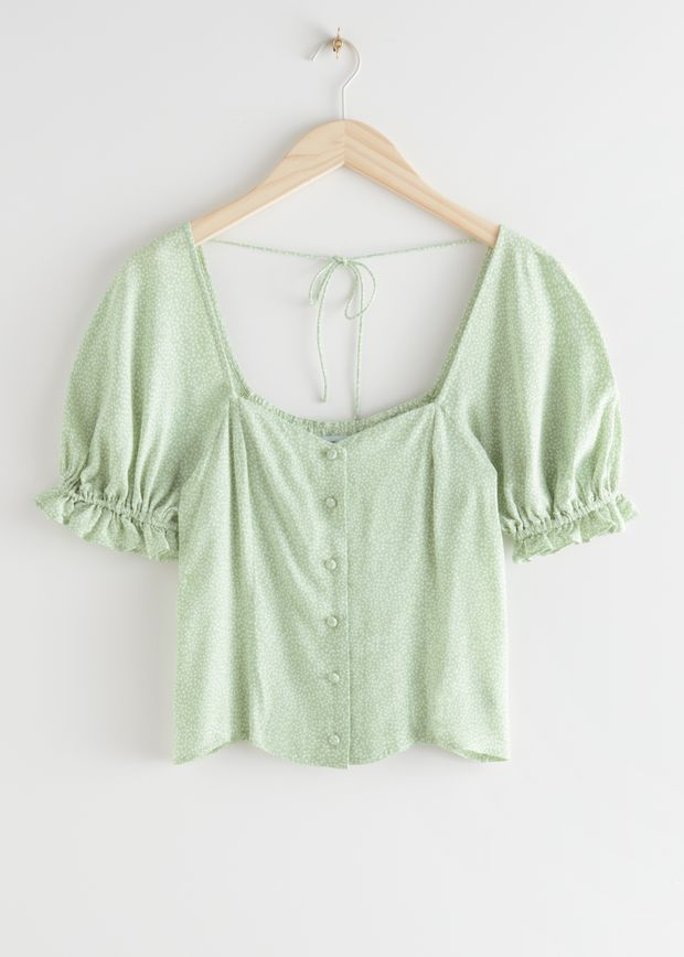 Buttoned Puff Sleeve Top