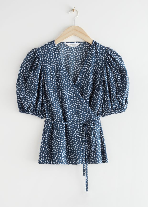 Printed Puff Sleeve Wrap Top